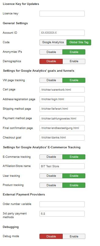 BIT Virtuemart Google Analytics